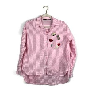 ZARA basic striped button down with patches size s